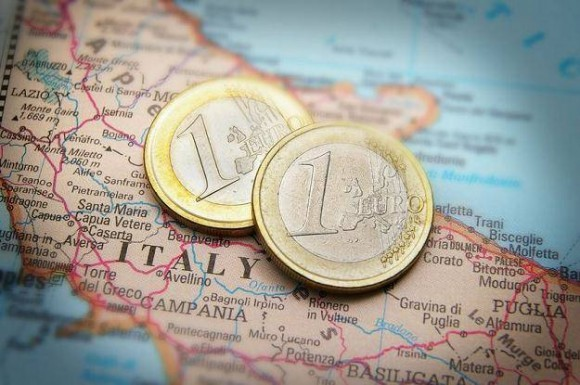 mapa wloch i monety euro
